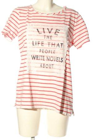 s.Oliver Print-Shirt wollweiß-rot Schriftzug gedruckt Casual-Look