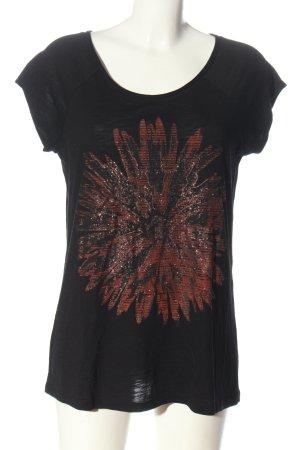 s.Oliver T-shirt imprimé noir-rouge imprimé avec thème style décontracté