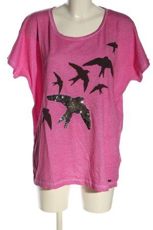 s.Oliver Print-Shirt pink-schwarz meliert Casual-Look