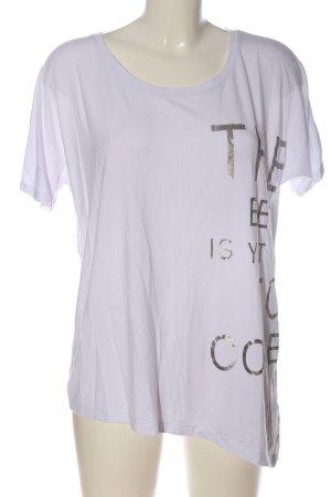 s.Oliver Print-Shirt weiß-silberfarben Schriftzug gedruckt Casual-Look