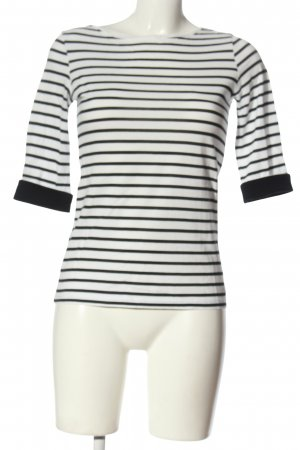 s.Oliver T-shirt rayé blanc-noir imprimé allover style décontracté
