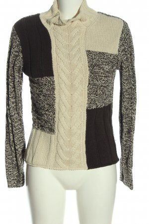 s.Oliver Strickpullover braun-wollweiß Zopfmuster Casual-Look