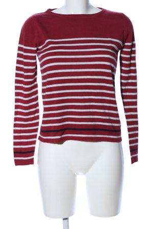 s.Oliver Rundhalspullover rot-weiß Streifenmuster Casual-Look