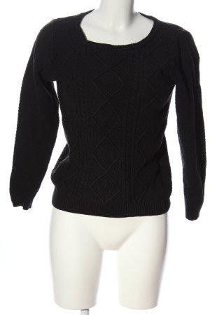 s.Oliver Kraagloze sweater zwart kabel steek casual uitstraling