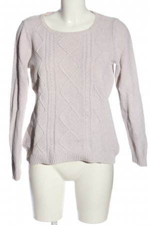 s.Oliver Rundhalspullover wollweiß Zopfmuster Casual-Look