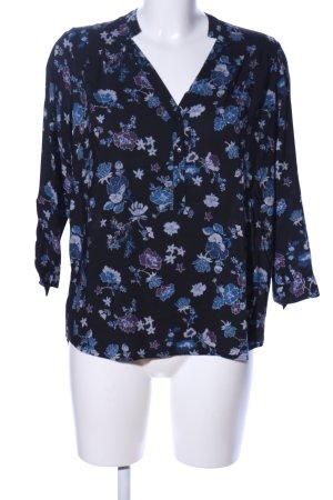 s.Oliver Schlupf-Bluse blau-schwarz Blumenmuster Casual-Look