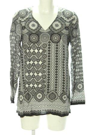 s.Oliver Schlupf-Bluse schwarz-weiß abstraktes Muster Casual-Look