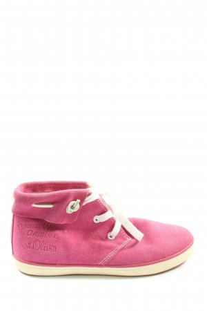 s.Oliver Lace-Up Sneaker pink-white themed print casual look