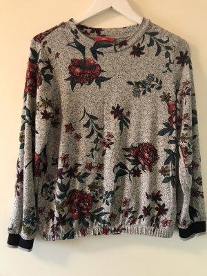 s.Oliver Shirt feinstrick Grau mit Blumenmuster