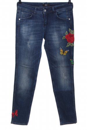 s.Oliver Skinny Jeans blau-rot Blumenmuster Casual-Look