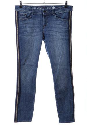 s.Oliver Slim Jeans blau-goldfarben Streifenmuster Casual-Look