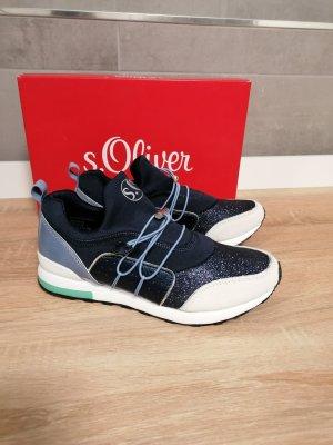 S.OLIVER Sneaker Schlupf Textil Glitzer blau 37