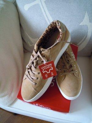 S.Oliver Sneakers Leder Gr. 7 / 41 - beige weiß camel gold NEUWERTIG