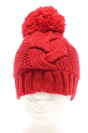 s.Oliver Knitted Hat red cable stitch casual look