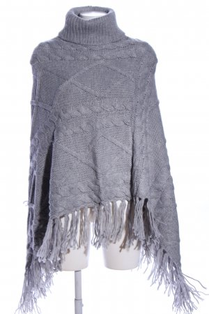 s.Oliver Strickponcho hellgrau Zopfmuster Casual-Look