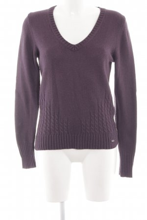 s.Oliver Strickpullover lila Zopfmuster Casual-Look