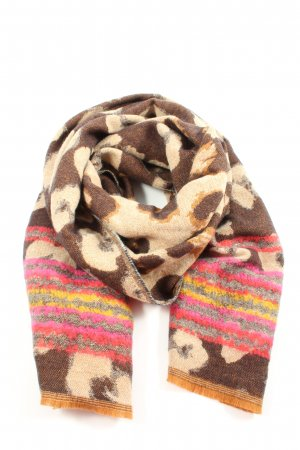 s.Oliver Knitted Scarf brown-cream abstract pattern casual look