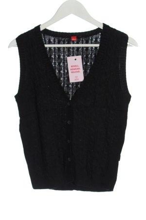 s.Oliver Gilet tricoté noir torsades style décontracté