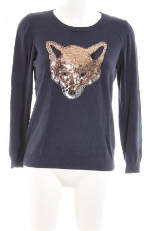 s.Oliver Sweatshirt blau-hellorange Motivdruck Casual-Look
