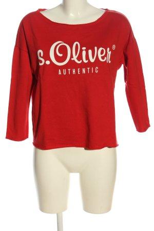 s.Oliver Sweatshirt rot-weiß Schriftzug gedruckt Casual-Look