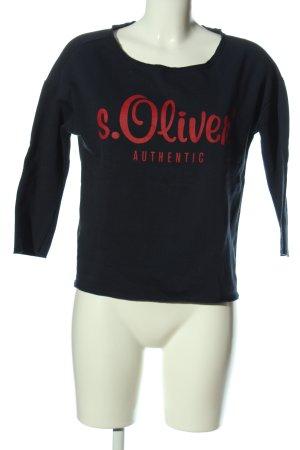 s.Oliver Sweatshirt schwarz Schriftzug gedruckt Casual-Look