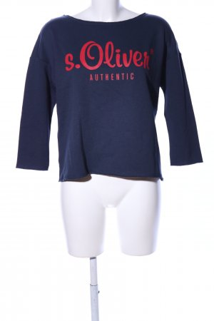 s.Oliver Sweatshirt blau-rot Schriftzug gedruckt Casual-Look