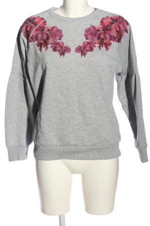 s.Oliver Sweatshirt hellgrau-pink Blumenmuster Casual-Look