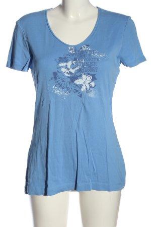 s.Oliver T-Shirt blau-weiß Blumenmuster Casual-Look
