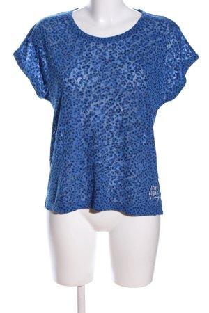 s.Oliver T-Shirt blau-schwarz Allover-Druck Casual-Look