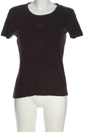 s.Oliver T-shirt brun lettrage brodé style décontracté