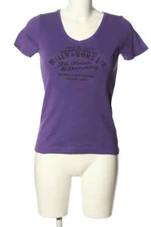s.Oliver T-Shirt lila-schwarz Schriftzug gedruckt Casual-Look