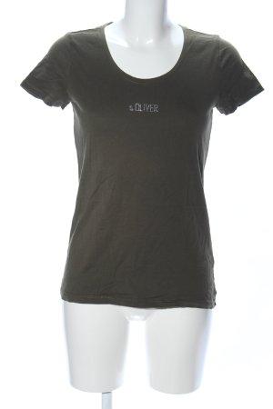 s.Oliver T-Shirt khaki-silberfarben Schriftzug gedruckt Casual-Look