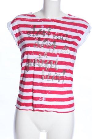 s.Oliver T-Shirt weiß-rot Schriftzug gedruckt Casual-Look