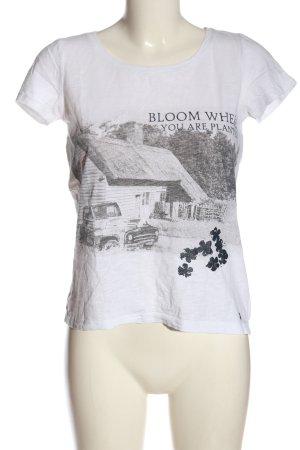 s.Oliver T-Shirt weiß-schwarz Motivdruck Casual-Look