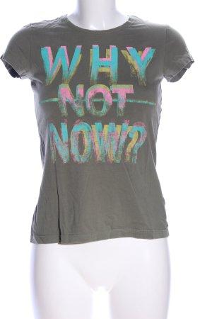 s.Oliver T-Shirt hellgrau-türkis Schriftzug gedruckt Casual-Look