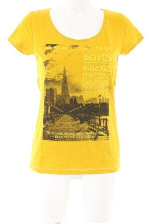 s.Oliver T-Shirt blassgelb-schwarz Motivdruck Casual-Look