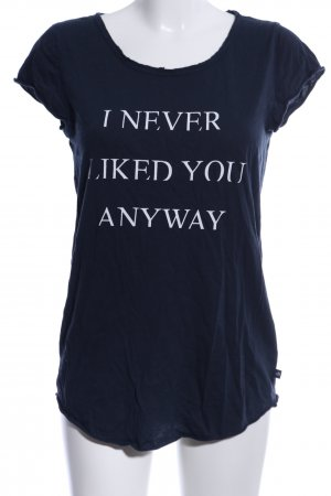 s.Oliver T-Shirt blau Schriftzug gedruckt Casual-Look