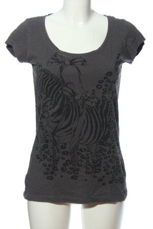 s.Oliver T-Shirt hellgrau-schwarz Motivdruck Casual-Look