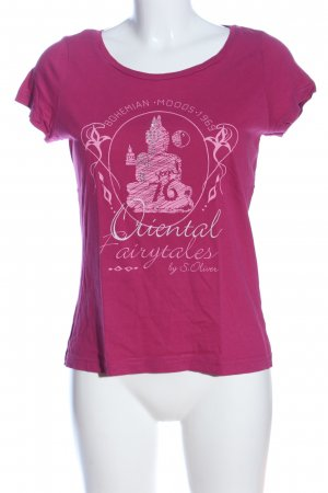 s.Oliver T-Shirt pink-weiß Motivdruck Casual-Look