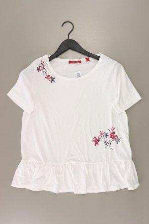 s.Oliver T-Shirt Größe 36 mit Blumenmuster Kurzarm weiß aus Viskose