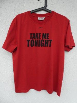 s.Oliver – T-Shirt, rot mit schwarzem Aufdruck – Gebraucht, fast wie neu