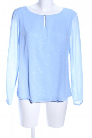 s.Oliver Transparenz-Bluse blau-weiß Motivdruck Casual-Look