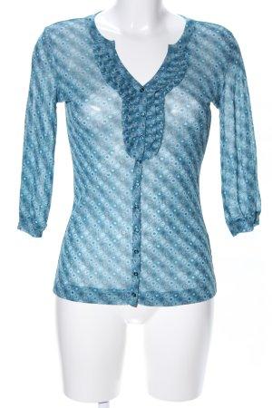 s.Oliver Transparenz-Bluse blau Blumenmuster Business-Look