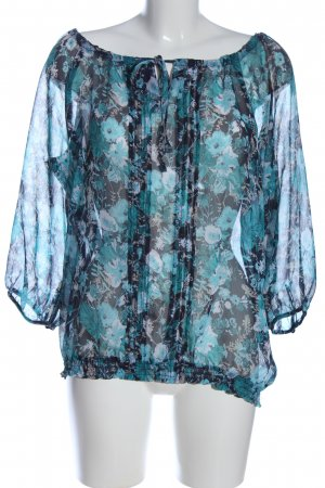 s.Oliver Transparenz-Bluse blau Allover-Druck Casual-Look