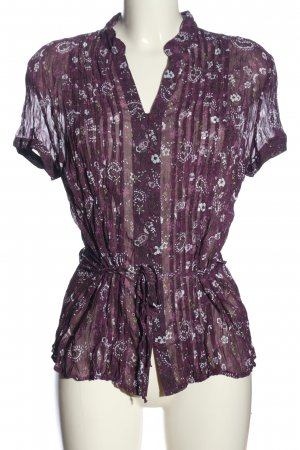 s.Oliver Transparenz-Bluse lila-weiß abstraktes Muster Casual-Look