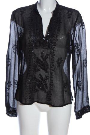 s.Oliver Transparenz-Bluse schwarz Elegant