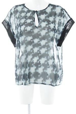 s.Oliver Transparenz-Bluse hellblau-dunkelblau abstraktes Muster Elegant