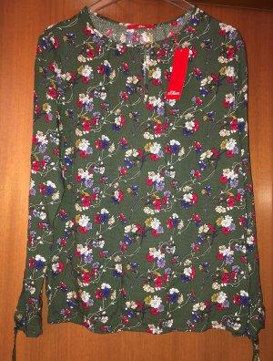 s.Oliver Tunika Bluse grün oliv khaki floral 40 Neu m. Etikett