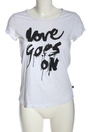 s.Oliver Print-Shirt weiß-schwarz Schriftzug gedruckt Casual-Look
