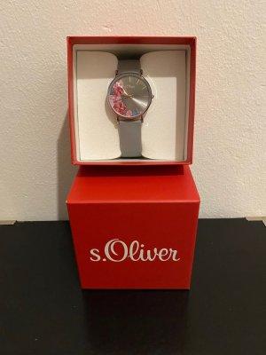 s.Oliver Uhr grau roségold Armbanduhr Silikonarmband neuwertig